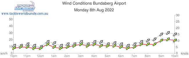 Chart of current wind conditions for Bundaberg